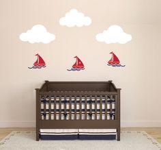 Nursery Nautical Wall Decal with Sailboats, Waves, and Clouds Sailboat Nursery, Nautical Nursery, Nursery Wall Decals, Sailboats, Baby Room, Toy Chest, Wall Decor, Clouds, Handmade Gifts
