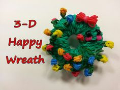 Happy Wreath Tutorial by feelinspiffy (Rainbow Loom Rainbow Braids, Rainbow Loom Bands, Rainbow Loom Charms, Rainbow Loom Bracelets, Rainbow Loom Tutorials, Rainbow Loom Patterns, Rainbow Loom Creations, Rainbow Loom Christmas, Rainbow Nail Art