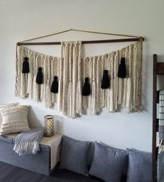 "72"" Extra large macrame wall hanging/modern farmhouse/macramé wall hanging/woven wall hangings/Yarn wall hanging/large wall art/black Large Macrame Wall Hanging, Yarn Wall Hanging, Wall Hangings, Jute Twine, Wall Spaces, Large Wall Art, Wooden Beads, Modern Farmhouse, Tapestry"