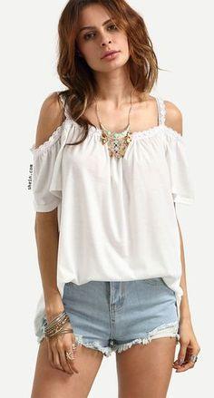 White Lace Trimmed Cold Shoulder Top