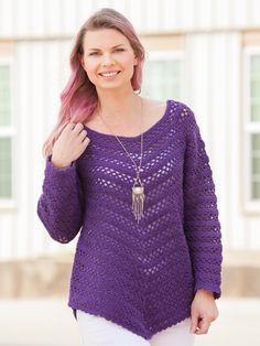 Grapevine Sweater Crochet Pattern from Annie's Craft Store. Order here: https://www.anniescatalog.com/detail.html?prod_id=136275&cat_id=468
