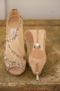 Obviously cannot afford Jimmy Choo's ~ but, thinking a nude shoe with a little sparkle would look good on the bridesmaids (legs look longer for the shorties in the group :)  with the shades of blue and is in keeping with your color palette