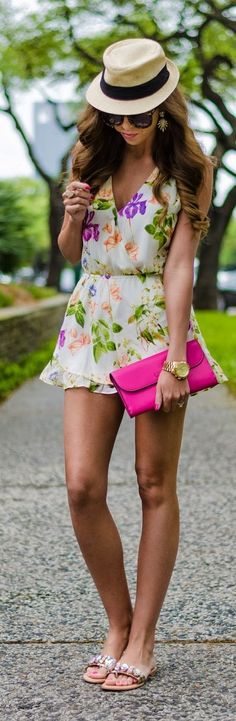 Floral Romper and Bright Pink Clutch - For The Lov...