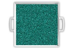 Teal Glitter Serving Tray