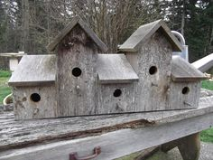 I love this barn wood birdhouse made to house 5 families. The design is so cute, perfect for your porch or fencepost.The birds will love it! Measures 29 inches wide 13 inches tall and 8 inches deep. Would make a great gift! * I refund overpaid shipping. Bird Houses For Sale, Bird House Feeder, Bird Feeders, Craftsman Farmhouse, Wood Shop Projects, Bird House Plans, Barn Wood Crafts, Birdhouse Designs, Wood Bird