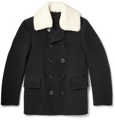 8b464c09700 Burberry Prorsum Shearling-Trimmed Wool Peacoat Men s Coats And Jackets