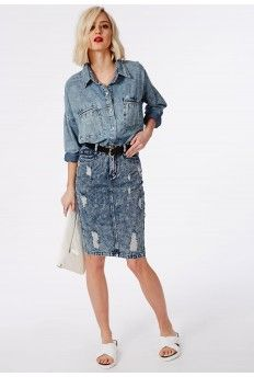 Ripped Denim Midi Skirt Blue