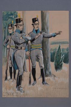 Officers and soldiers at Västgöta-Dals regiment of foot 1807 by Einar von Strokirch