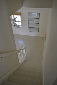 45 CENTS PER SQUARE FOOT!!!frugal farmhouse design: plywood plank  floors, white stairs, painted stairs, painted floors