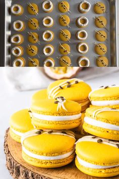 These Passion Fruit Macarons are filled with a passion fruit curd and marshmallow frosting. Includes a video showing how to make these macarons! Macaron Filling, Macaron Flavors, Macaron Recipe, French Macaroon Recipes, French Macaroons, Baking Recipes, Cookie Recipes, Dessert Recipes, Macaron Caramel