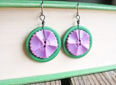 Green and Purple Button Earrings Button by LittleMissHaywire