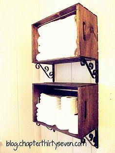 bathroom shelving made from crates and brackets, bathroom, design d cor, repurposing upcycling, storage shelving