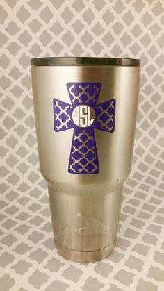 Cross Decal W/ Monogram by LowTideCrafters on Etsy