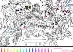 ColorearMonsterHigh.com - Juego: Colorear Aniversario Draculaura - Jugar Gratis Online