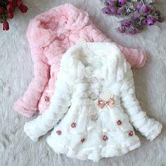 Wish | Girls Junoesque Baby Faux Fur Fleece Lined Coat Kids Winter Warm Jacket Z_G
