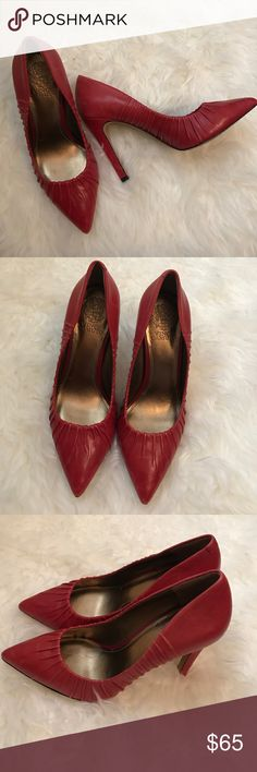 "Vince Camuto Red Pointed Toe Leather Pumps Gorgeous Distressed Red Leather Pointed Toe Pumps With Beautiful Pleating Around The Edges! Only Worn Once! Size 7 1/2. Heel is 4.5"". Vince Camuto Shoes Heels"