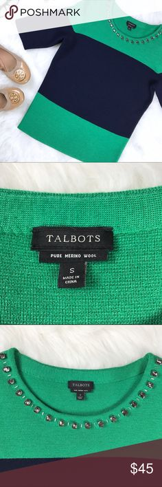 "Talbots • 100% Merino Wool Embellished Blouse This aaaamazing, medium-knit sweater blouse thing (I'm a little stumped on what to call it) is in absolutely perfect condition. Soft Merino Wool with navy and kelly green colorblocking, accented with a gentle embellished neckline of clear crystals. Perfect for work, date night, or a day on the town with your gal pals. Approximate measurements laying flat: pit to pit 18"", waist 16"", shoulder to hem 24"". Not very stretchy, as it's a pretty…"