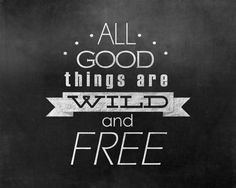 All good things are wild and free 8x10 Graphic Chalk board style Print download. $3.00