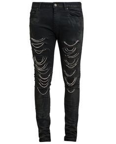 SAINT LAURENT | Distressed Chain Jeans I'm so going make these!