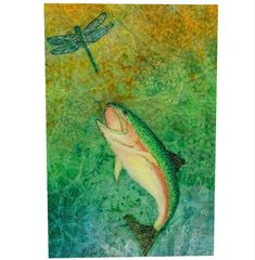 Leaping Trout - Mixed Media Paper Collage by Brenda Bennett - Gallery Wrapped Canvas Print Mixed Media Painting, Mixed Media Art, Traditional Paintings, Stencil Art, Trout, Wrapped Canvas, Original Paintings, Collage, Canvas Prints