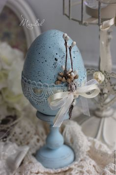 """Купить Пасхальное яйцо """"Небесно-голубое"""" - голубой, Пасха, пасхальное яйцо, пасхальный декор"""