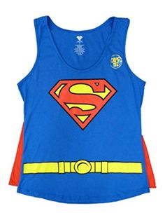 DC Comics Superman Junior Womens Supergirl Cape T-Shirt Costume Tank Shirt 2XL -- Awesome products selected by Anna Churchill