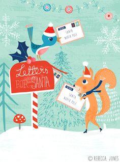 Letter-posting - Illustration by Rebecca Jones Noel Christmas, Vintage Christmas Cards, Christmas Images, Christmas Design, Xmas Cards, Vintage Cards, All Things Christmas, Winter Christmas, Christmas Themes