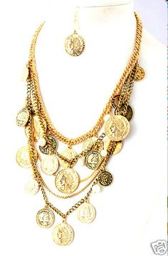 riple Strand Stella Ancient Gold Coin Necklace