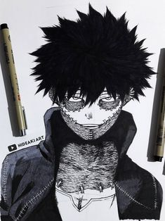 My drawing of Dabi from My Hero Academia :) Anime Character Drawing, Character Art, Drawing Sketches, Art Drawings, Black And White Drawing, Image Manga, Anime Sketch, Art Reference Poses, Animes Wallpapers