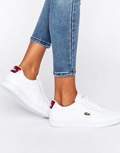 00e2017ce26 Lacoste Carnaby Evo Textured Trainers With Red Back Counter