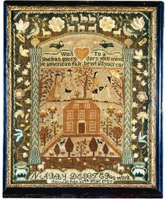 Rare and Important Needlework Sampler, Nabby Dexter, Mary Balch's School, Providence, Rhode Island, dated 1785   lot   Sotheby's