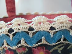 Vintage Handmade Crocheted Rick Rack Lace on Blue Floral Fabric Organizer Bin