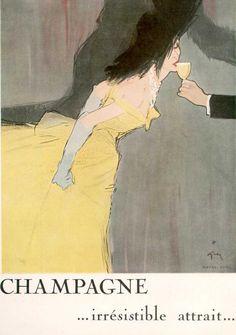 """Champagne...irresistible attrait..."" Vintage Posters Ad Art  #BubblyLady #VintageChampagne"