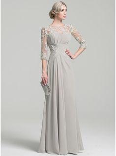Vestidos princesa/ Formato A Decote redondo Longos Tecido de seda Vestido para a mãe da noiva com Pregueado