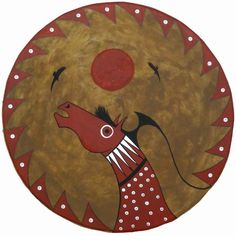 American Indian Hand Painted Drum w. Horse Image
