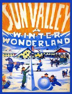 Sun Valley Winter Ski Sport A Winter Wonderland Idaho Travel Vintage Poster Vintage Ski Posters, Retro Poster, Vintage Ads, Travel And Tourism, Travel Usa, Travel Trip, Famous Structures, Colorado Ski Resorts, Sun Valley Idaho