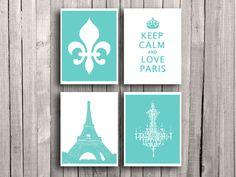 French art print Tiffany blue Fleur de lis print Keep calm poster Chandelier wall decor I love Paris art Eiffel Tower Girls room Aqua green
