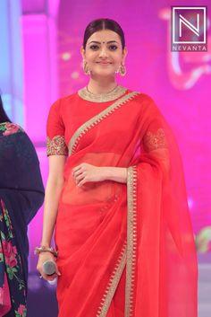 #KajalAggarwal picked a red #SabyasachiMukherjee saree with golden border at #Brahmotsavam audio launch