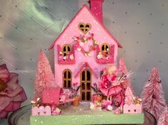 Valentines Putz House with Girl Pretty in Pink. by glitteratmidnight on Etsy https://www.etsy.com/listing/572157930/valentines-putz-house-with-girl-pretty