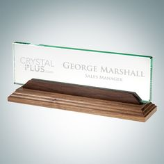 Nameplate with Walnut Base // A beautifully simple, yet classic professional addition to your grad's office environment! // Free Personalization ~ No Setup ~ Fast Turnaround