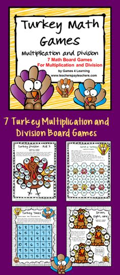 Turkey multiplication and division board games from Games 4 Learning. $ Just print and play!