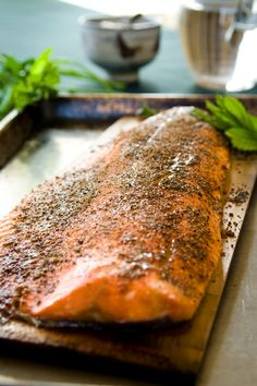 This Garam Masala Cedar Plank Salmon is super simple to make! Simply rub the whole filet of salmon with the spice mixture, then grill it on a Cedar Plank! Wild Salmon Recipe, Salmon Recipes, Fish Recipes, Seafood Recipes, Healthy Recipes, Fish Dishes, Seafood Dishes, Fish And Seafood, Cedar Plank Salmon