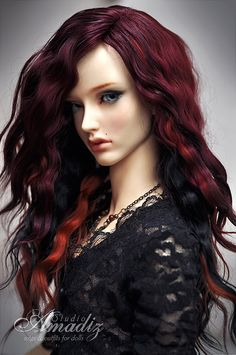Gothic cherry (natural angora wig for bjd SD, MSD, tiny)