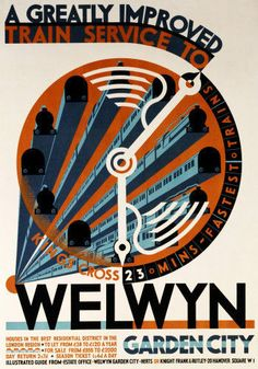 Welwyn Garden City - A Greatly Improved Service by Cecil Walter Bacon - art print from King & McGaw Train Posters, Railway Posters, Fine Art Prints, Framed Prints, Canvas Prints, National Railway Museum, Train Service, Art Deco Posters, Vintage Travel Posters