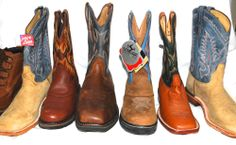 NEW LOT OF 7 MENS SINGLE COWBOY BOOTS - ROOM DECOR, CRAFTS, TABLE CENTERPIECES