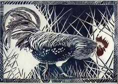 Cockerel - Jackie Curtis linocut