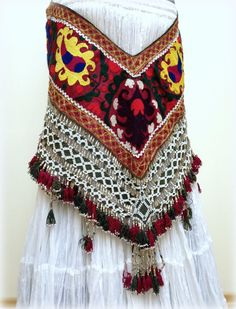 Kuchi Tassel Belt Tribal Belly Dance Belt Hips Scarf ATS Tassel Belt Ethnic Afghani Hand Embroidered Decoration Segusha Saye Gosha Green Red...