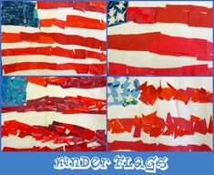 Flag Collage project: A LOT like a lesson I made up myself. I had the kids practice their cutting and cut up a red painted piece of paper with wavy and zig zag lines...but i like the cut up pieces here as well...
