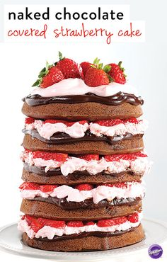 Making this luscious naked chocolated covered strawberry cake just got easier with our Easy Layers Cake Pan Set! Get the how-to in the link in our bio. Chocolate Covered Strawberries Cake Recipe, Strawberry Cake Recipes, Cupcakes, Cupcake Cakes, Mini Cakes, Naked Cake, Wilton Cake Decorating, Cake Pans, Puddings