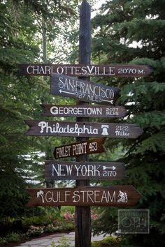 I want a sign like this in my yard for all of my favorite places.